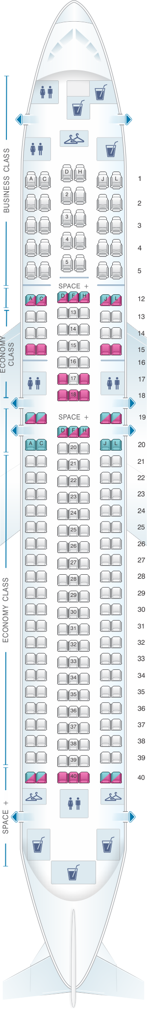 Seat map for LATAM Airlines Brasil Boeing B767 300ER V2