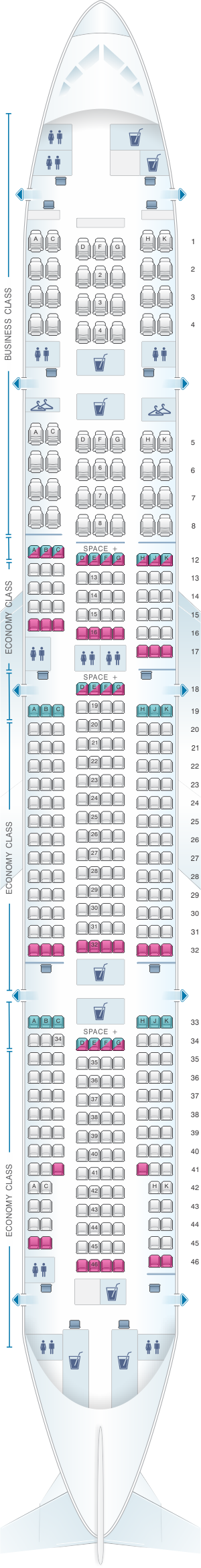 Seat map for LATAM Airlines Brasil Boeing B777 300ER V2