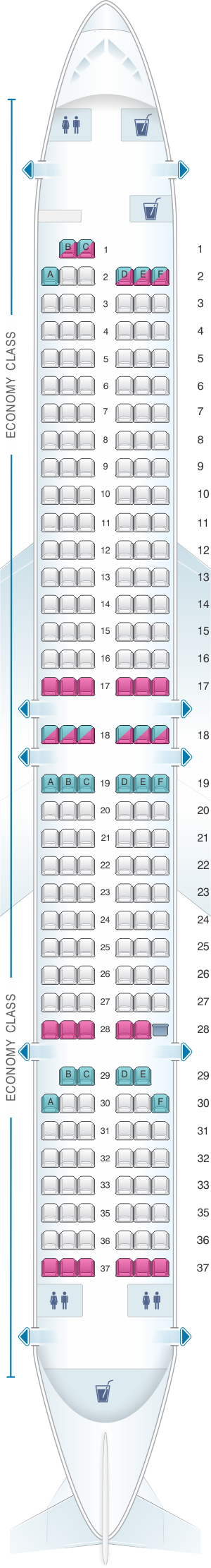 Seat map for Lion Air Boeing B737 900ER