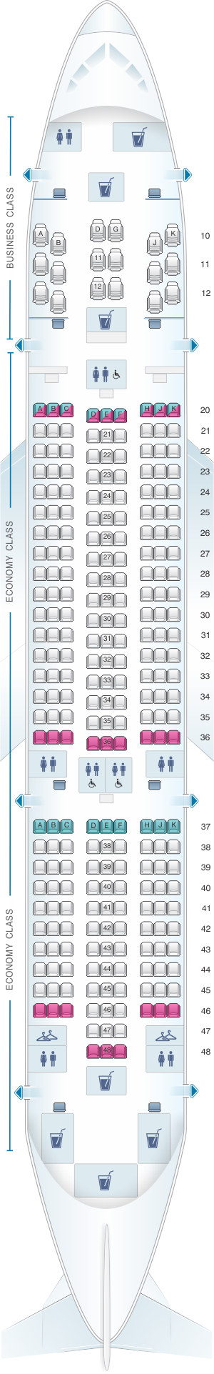 Seat map for Oman Air Boeing B787 8 V1