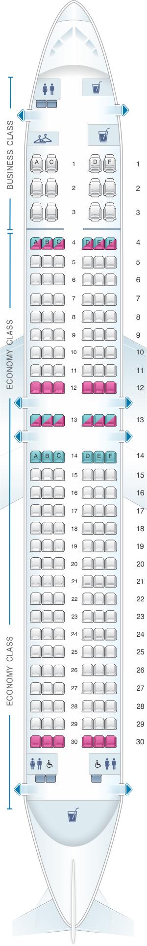 Seat map for Qantas Airways Boeing B737 800 174PAX