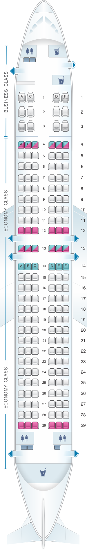 Seat map for Rossiya Airlines Boeing B737 800 168PAX V1