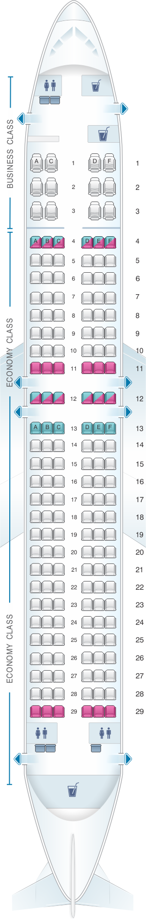 Seat map for Rossiya Airlines Boeing B737 800 168PAX V2
