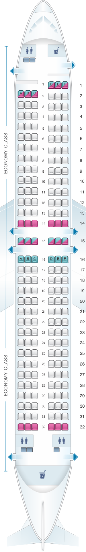 Seat map for Rossiya Airlines Boeing B737 800 189PAX V2