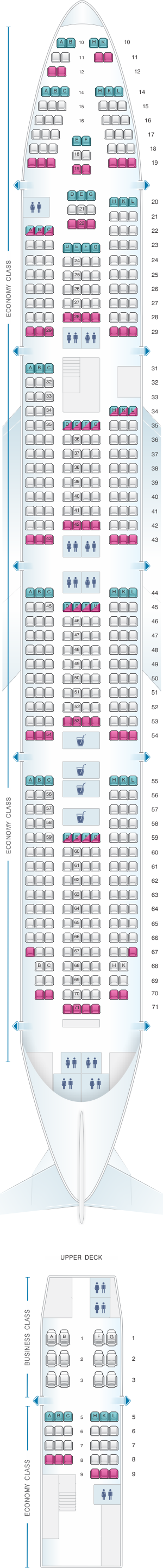 Seat map for Rossiya Airlines Boeing B747 400 V1