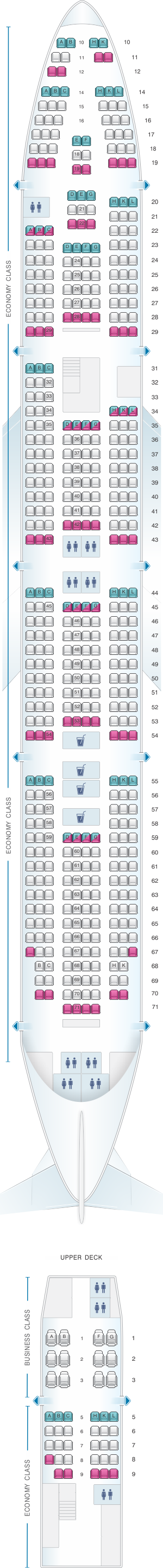 Seat map for Rossiya Airlines Boeing B747 400 V2