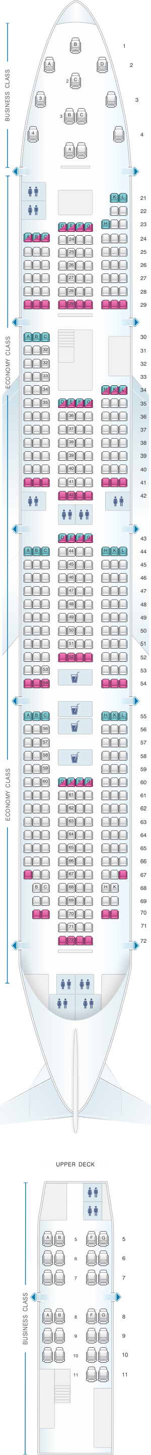 Seat map for Rossiya Airlines Boeing B747 400 V3