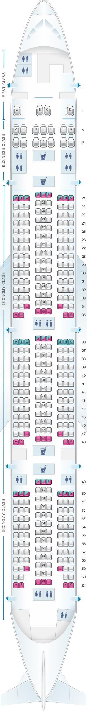 Seat map for Rossiya Airlines Boeing B777 300