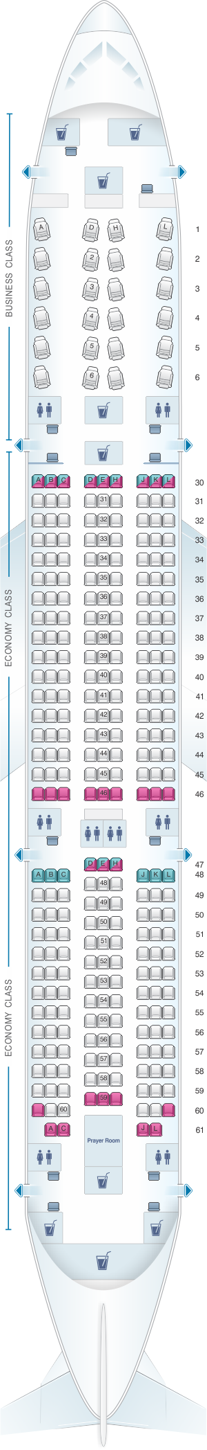 Seat map for Saudi Arabian Airlines Boeing B787-9