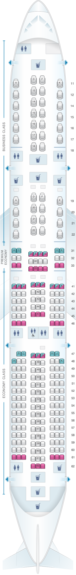 Seat map for Singapore Airlines Airbus A350 900