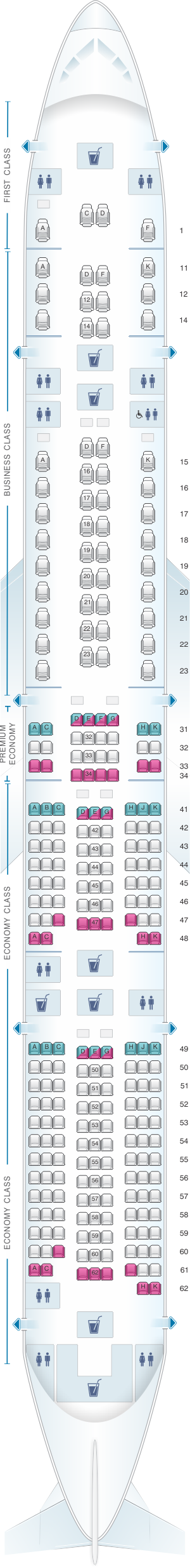 Seat map for Singapore Airlines Boeing B777 300ER four class