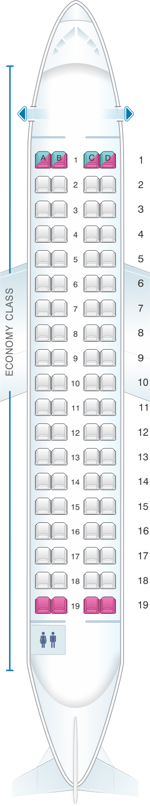 Seat map for Aer Lingus ATR 72 600