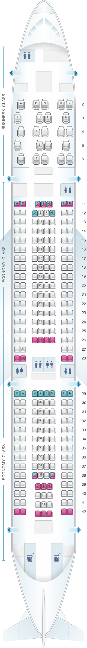 Seat map for Aer Lingus Airbus A330 200 Config. 2