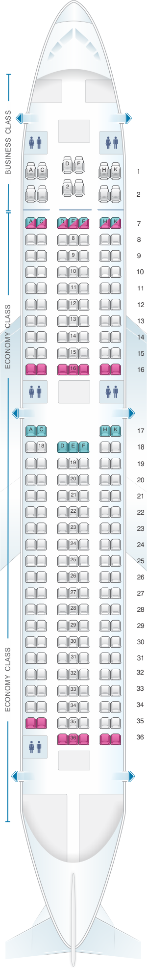 Seat map for Aer Lingus Boeing B767 200