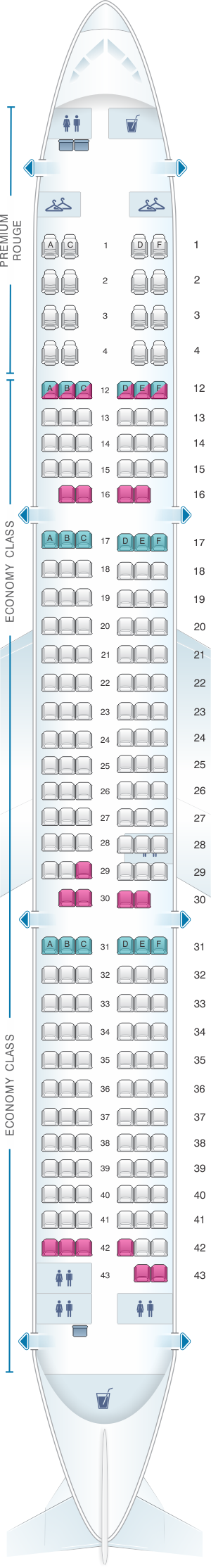 Air Canada 321 Seat Map Seat Map Air Canada Airbus A321 200 Rouge | SeatMaestro
