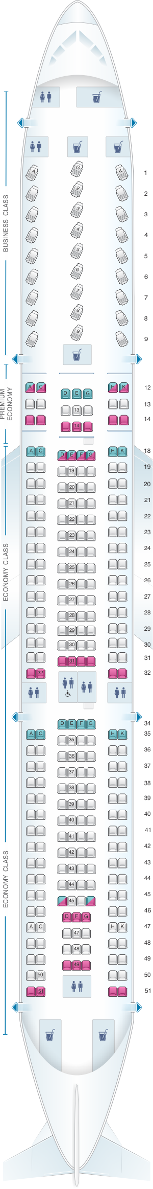 Seat map for Air Canada Airbus A330 300