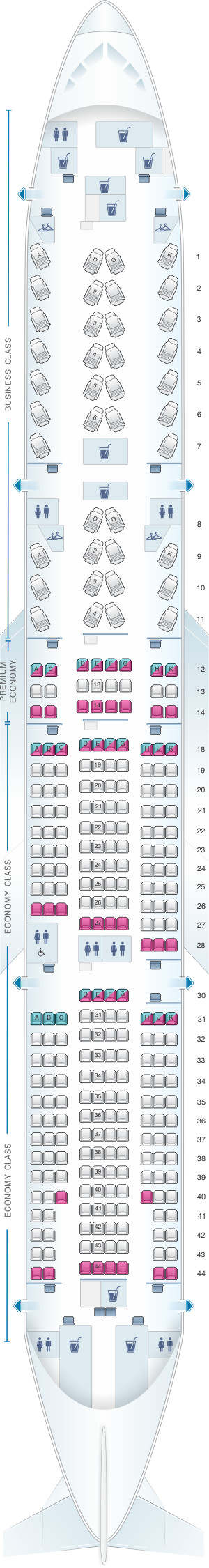 Seat map for Air Canada Boeing B777 200LR (77L)