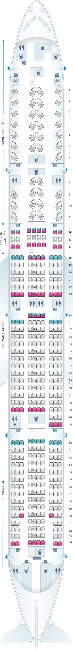 Seat map for Air Canada Boeing B777 300ER (77W) International Layout 1