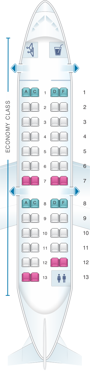 Seat map for Air Canada Bombardier CRJ100