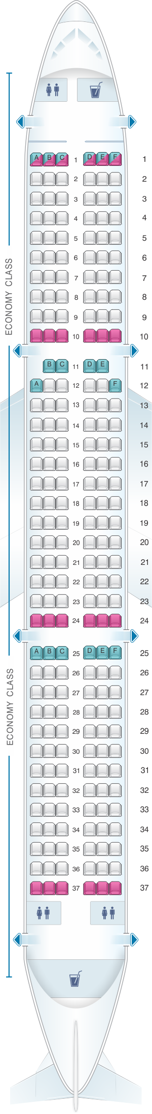 Seat map for SmartLynx Airlines Airbus A321 - 220 PAX