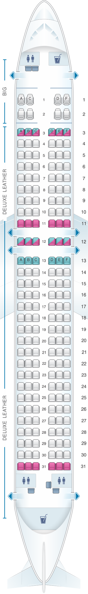 Seat map for Spirit Airlines Airbus A320 182PAX