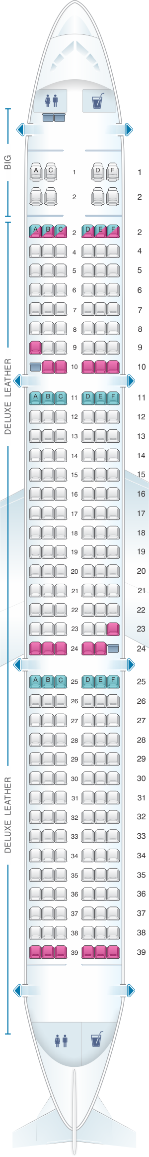 Seat Map For Spirit Airlines Airbus A321 228pax