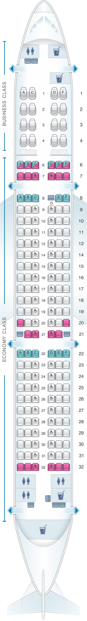 Seat map for SriLankan Airlines Airbus A321 231 Config. 2