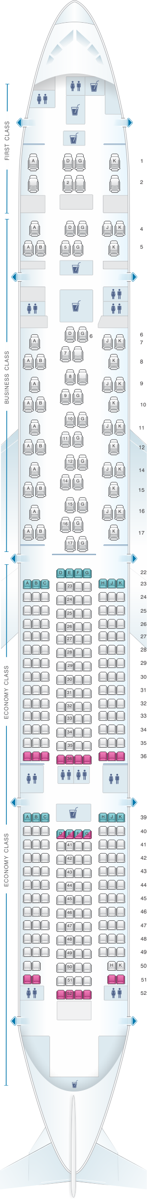 Seat map for SWISS Boeing B777 300ER
