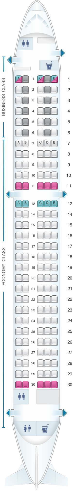 Seat map for SWISS Airbus A220 300
