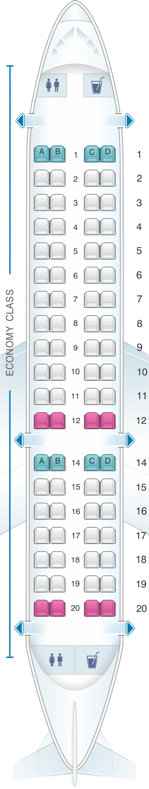 Seat map for Aeromexico Embraer EMB 170
