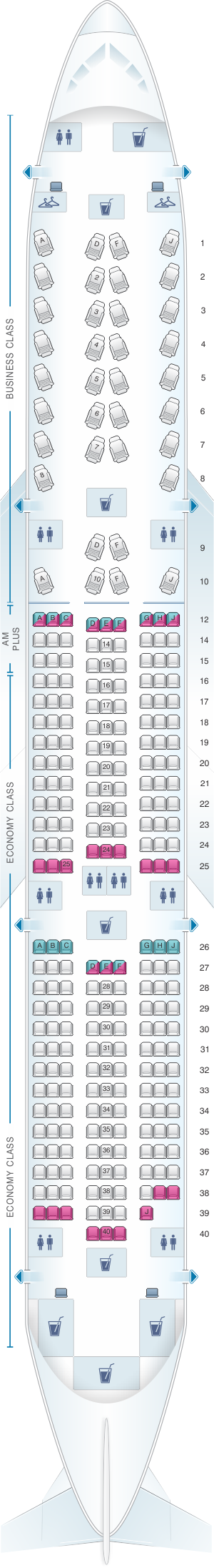 Seat map for Aeromexico Boeing B787-9