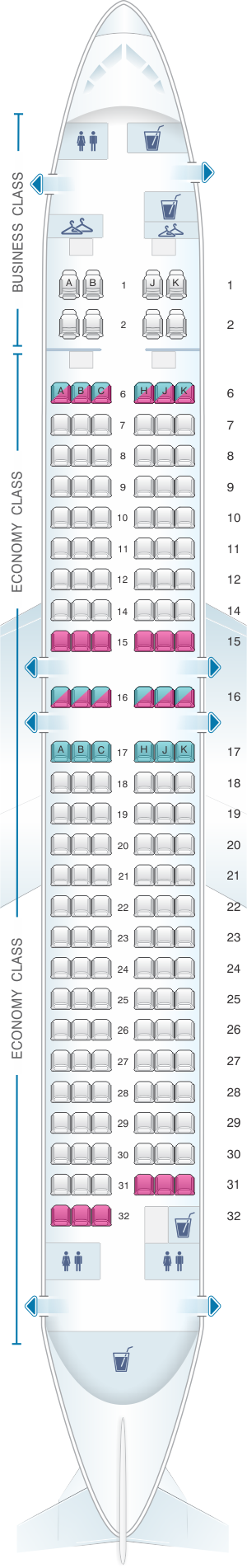 Seat map for China Airlines Boeing B737 800 Config.2