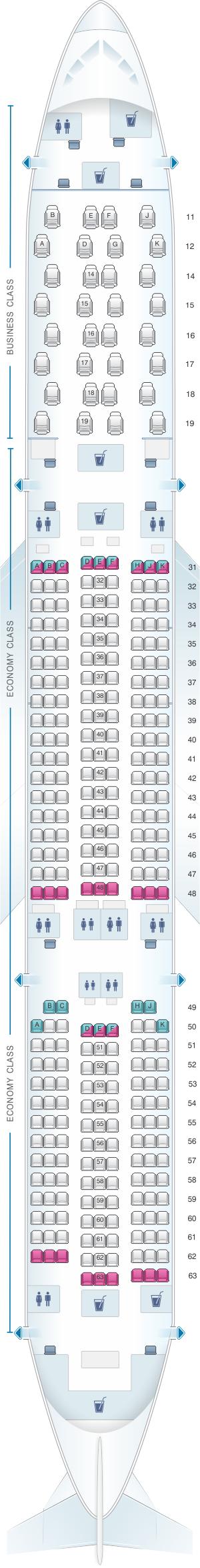 Seat map for Thai Airways International Airbus A350 900