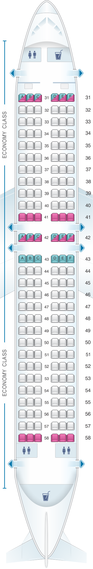Seat map for Thai Airways International Airbus A320 200 (32S)