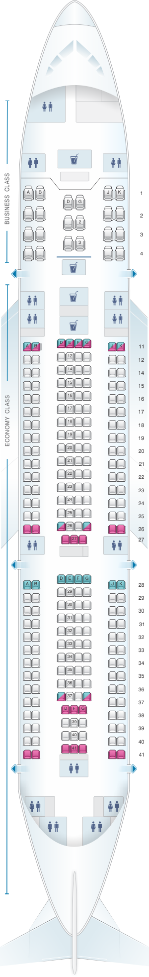 Seat map for Turkish Airlines Boeing B747 400F