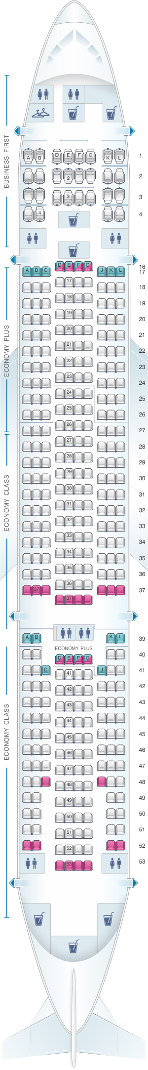 Seat map for United Airlines Boeing B777 200 (777) – version 5
