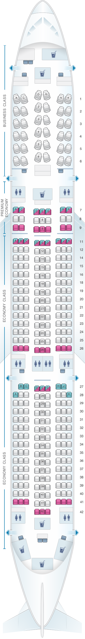 Seat map for Lufthansa Airbus A350 900 Config.2