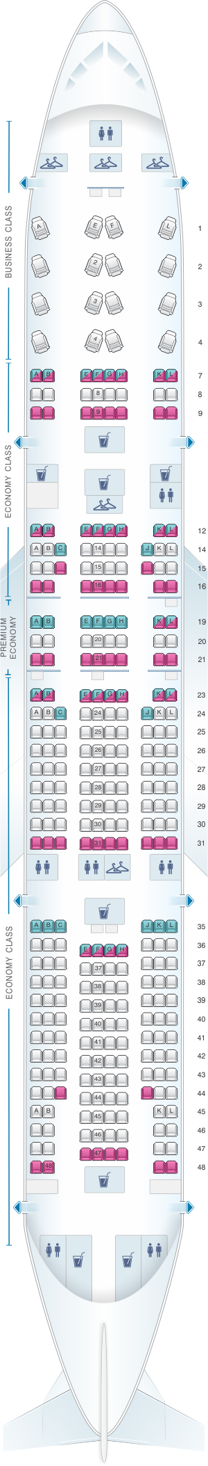 Seat map for Air France Boeing B777 200 International Long-Haul 316PAX