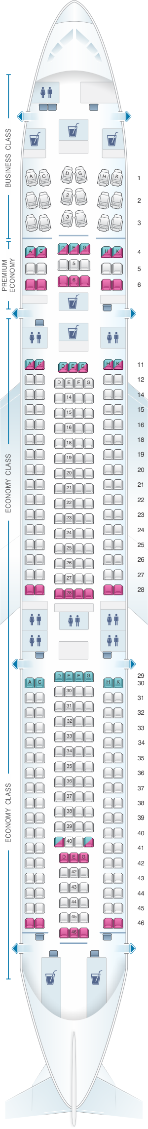 Seat map for Lufthansa Airbus A340 300 300pax