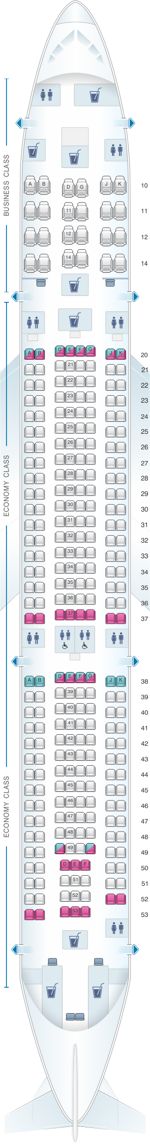 Seat map for Oman Air Airbus A330 300 V1