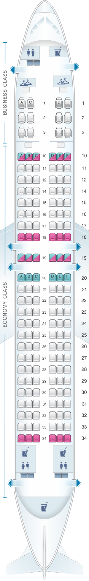 Seat map for Oman Air Boeing B737 800 V1