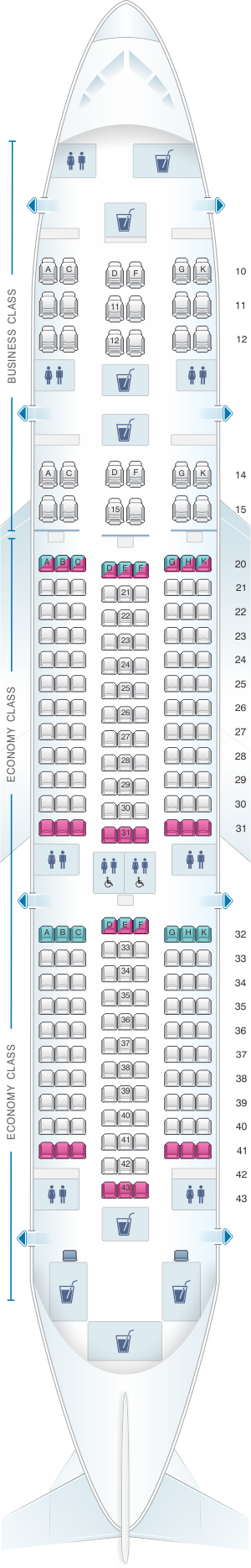 Seat map for Oman Air Boeing B787 8 V2