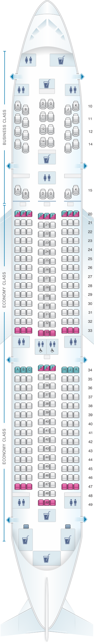 Seat map for Oman Air Boeing B787 9 V1