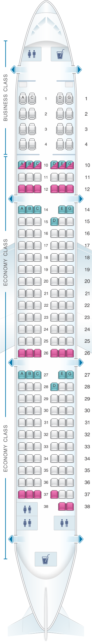 Seat map for Vietnam Airlines Airbus A321 Config.1