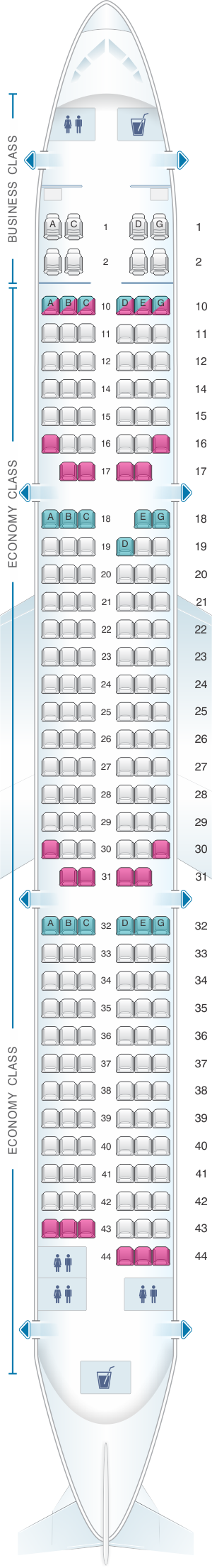 Seat map for Vietnam Airlines Airbus A321 Config.3
