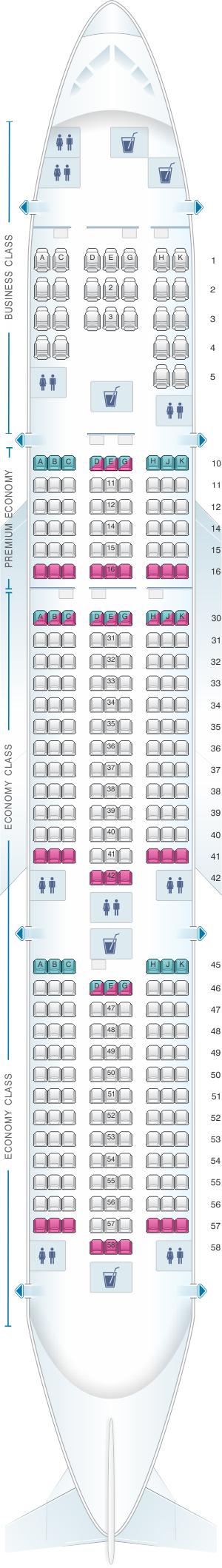 Seat map for Vietnam Airlines Boeing B777 200ER V2