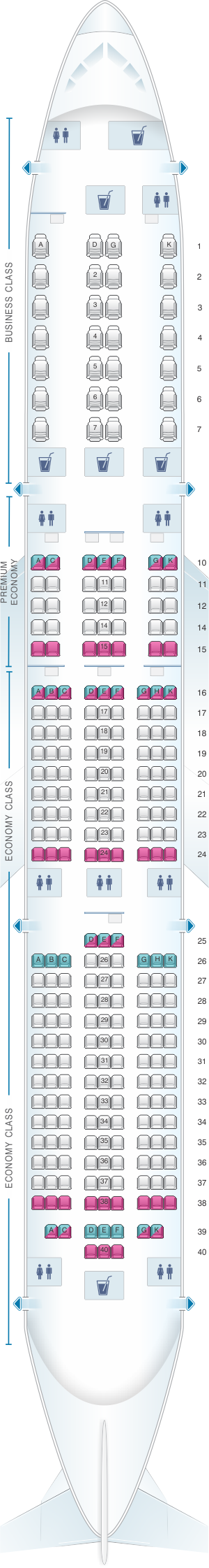 Seat map for Vietnam Airlines Boeing B787-9 V1
