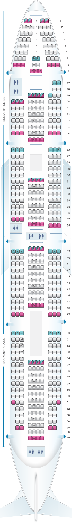 Seat map for Wamos Air Boeing B747 400