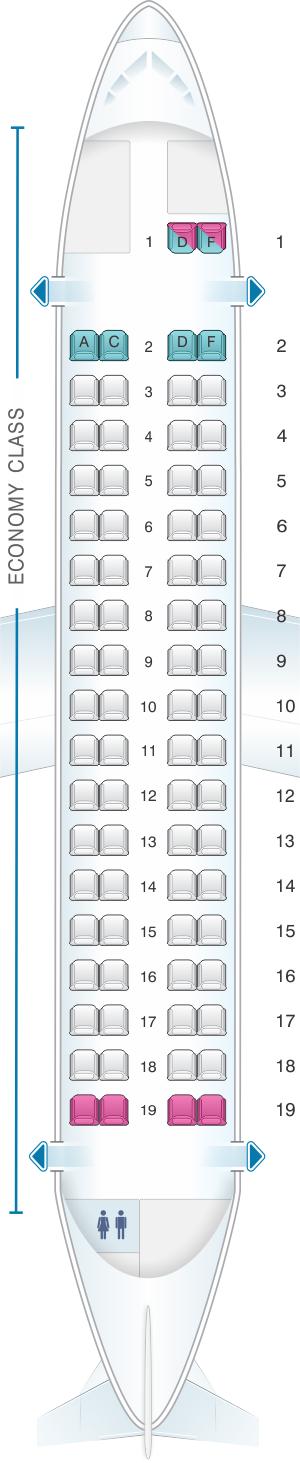 Seat map for Air Caraibes ATR 72 600