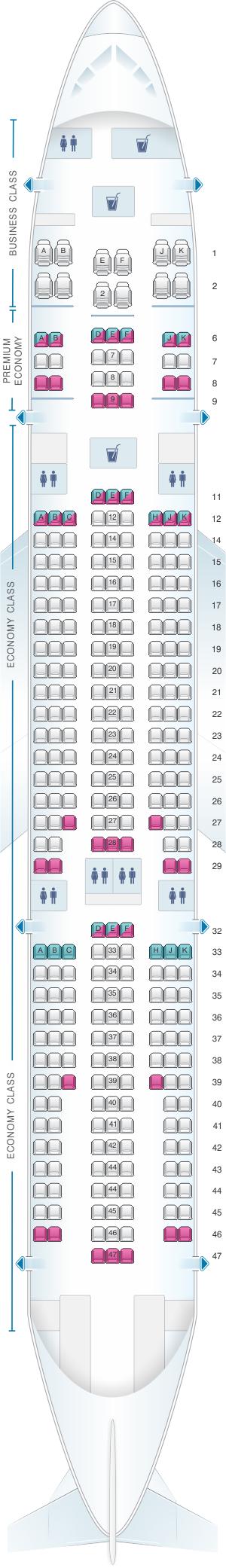 Seat map for Air Caraibes Airbus A330 200 303PAX